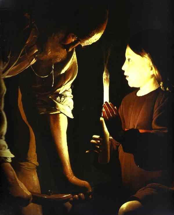 Georges de La Tour. St. Joseph the Carpenter. Detail.