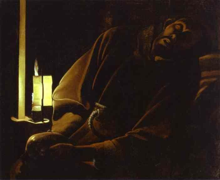 Georges de La Tour. St. Francis in Ecstasy. Detail.