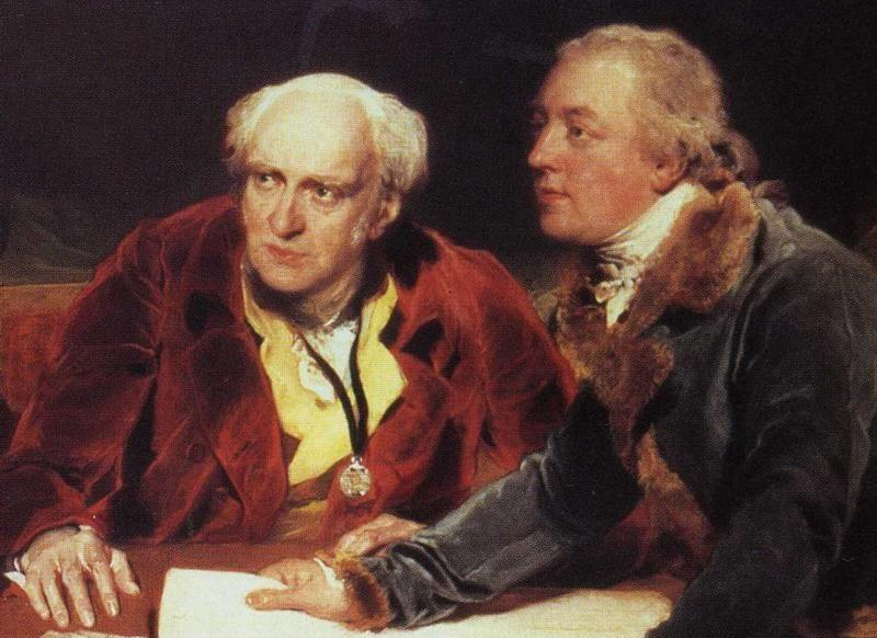 Sir Thomas Lawrence. Sir Francis Baring, 1st. Bart. (1740-1810), John Baring (1730-1816) and Charles Wall. Detail.