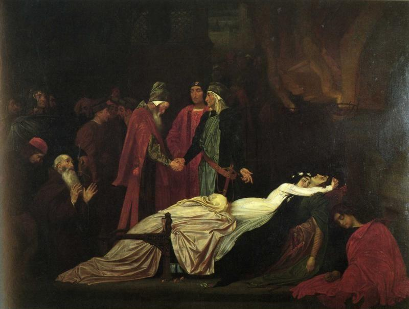 Frederick Leighton. The Reconciliation of the Montagues and Capulets over the Dead Bodies of Romeo and Juliet.