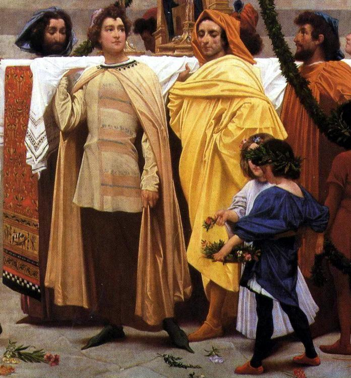 Frederick Leighton. Cimabue's Celebrated Madonna is Carried in Procession through the Streets of Florence; in front of the Madonna, and Crowned with Laurels, walks CImabue Himself, with his Pupil Giotto; behind It Arnolfo Di Lapo, Gaddo Gaddi, Andrea Tafi, Niccola Pisano, Buffalmacco, and Simone Memmi; in the Corner Dante. Detail.