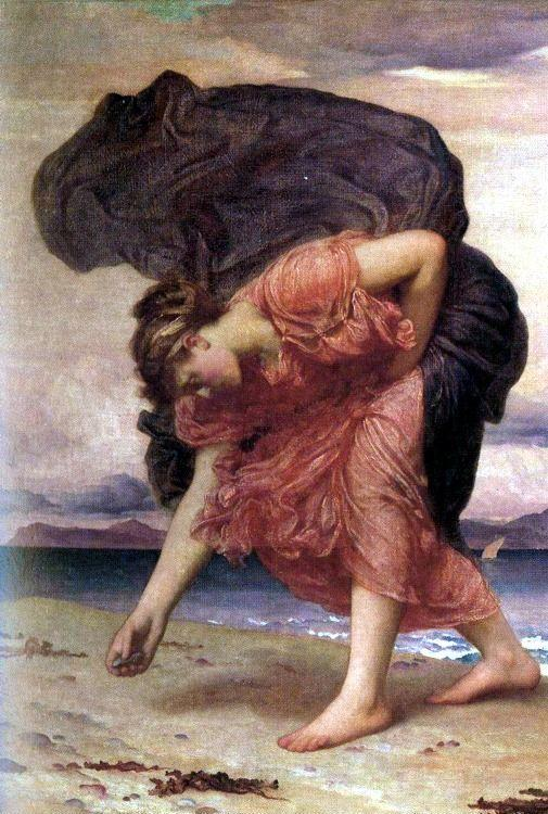 Frederick Leighton. Greek Girl Picking up Pebbles by the Sea. Detail.