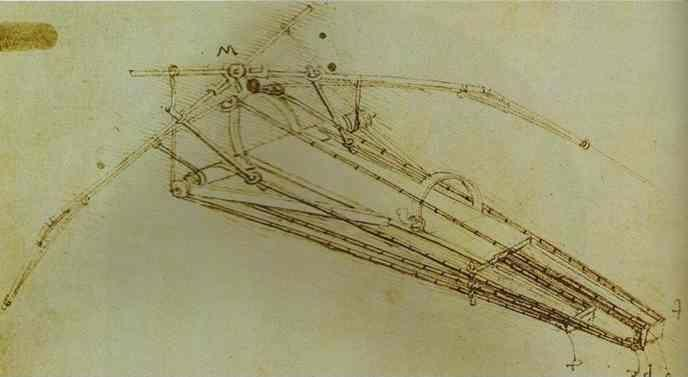 Leonardo da Vinci. Drawing of a Flying Machine.