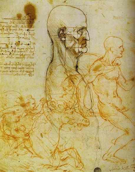Leonardo da Vinci. Head Measured, and Horsemen.