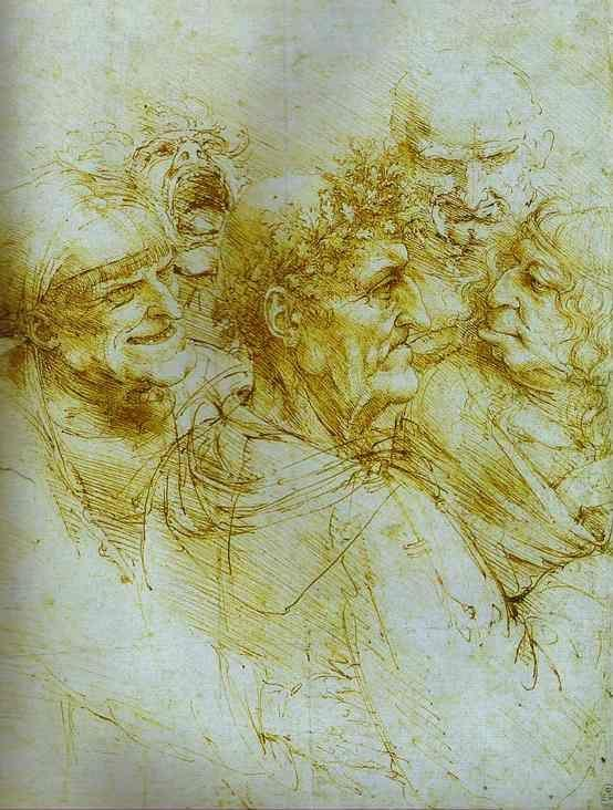 Leonardo da Vinci. Five Grotesque Heads.