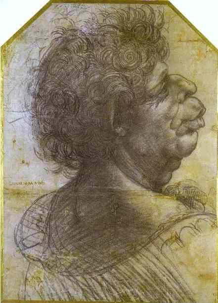 Leonardo da Vinci. Grotesque Portrait Study of Man.