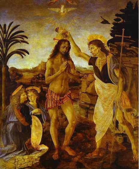 Andrea del Verrocchio and Leonardo da Vinci. The Baptism of Christ.