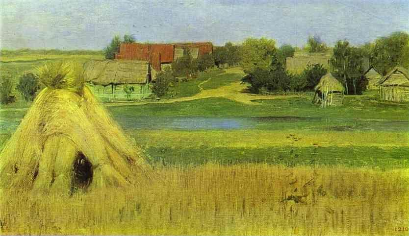 Isaac Levitan. Sheaves and a Village Beyond the River.