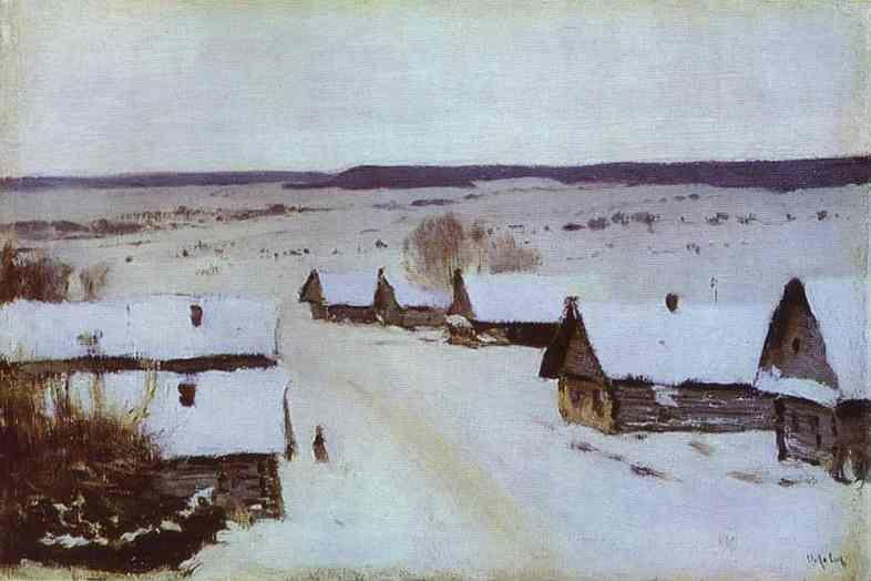 Isaac Levitan. Village in Winter.