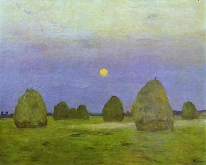 Isaac Levitan. Haystacks. Twilight.