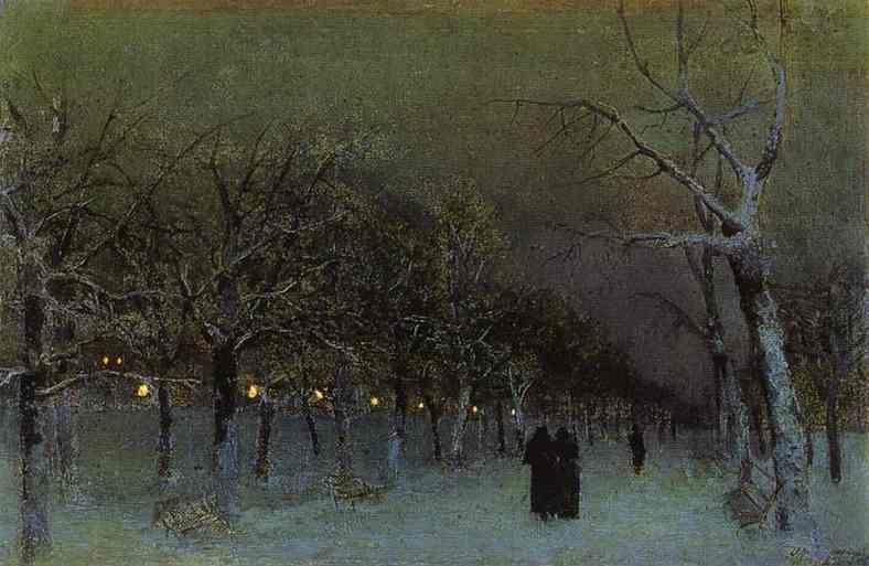 Isaac Levitan. Boulevard in the Evening.