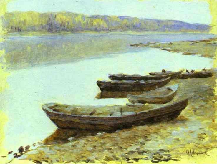 Isaac Levitan. Landscape on the Volga. Boats by the Riverbank.