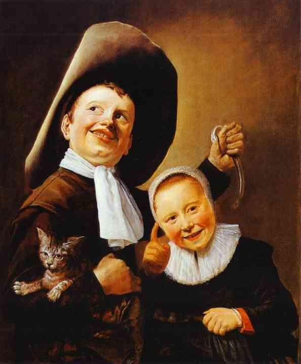 Judith Leyster. A Boy and a Girl with a Cat and an Eel.