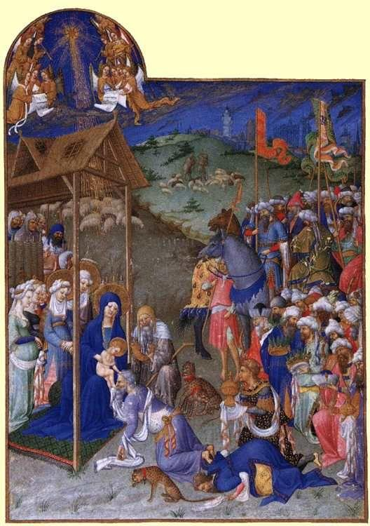 Limbourg Brothers.  Les tr�s riches heures du Duc de Berry. Adoration of the Magi.