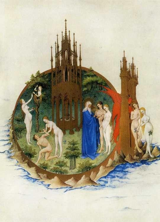 Limbourg Brothers. Les tr�s riches heures du Duc de Berry. The Expulsion from Paradise.