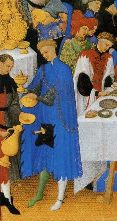 Limbourg Brothers. Les tr�s riches heures du Duc de Berry. January. A New Year's Day Feast including Jean de Berry. Detail.