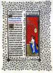 Limbourg Brothers. The Belles Heures of Jean de France, Duke de Berry. Page with Jean de Berry Praying.