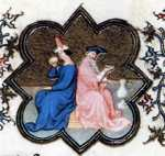 Limbourg Brothers. The Belles Heures of Jean de France, Duke de Berry. January. Detail.