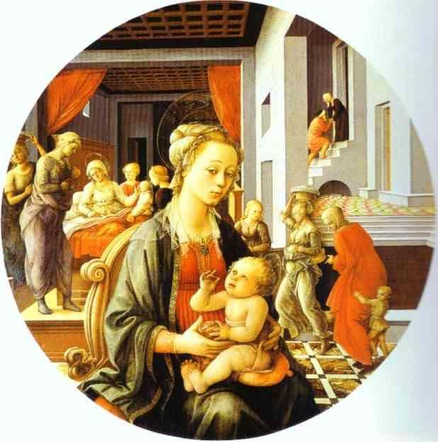 Fra Filippo Lippi. Madonna and Child with Stories of the Life of St. Anne.