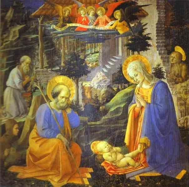 Fra Filippo Lippi. The Adoration with St. Joseph, St. Jerome, Mary Magdalene and St. Ilarion.