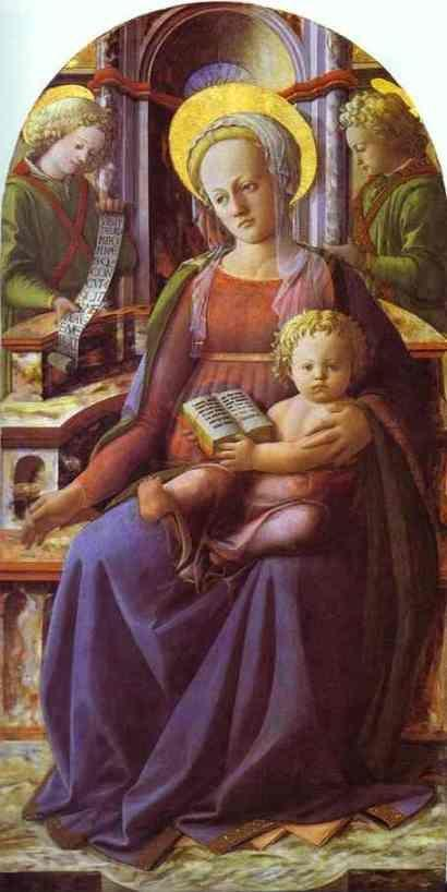 Fra Filippo Lippi. Madonna and Child Enthroned with Two Angels.