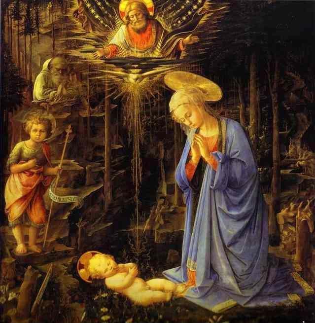 Fra Filippo Lippi. The Adoration, with the Infant Baptist and St. Bernard.