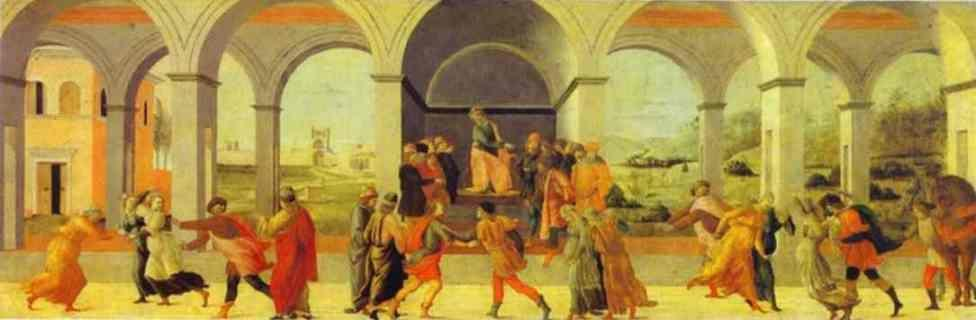 "Filippino Lippi. Three Scenes from the Story of Virginia: Appius Claudius Stops Virginia; The ""Decemvir"" Condems Virginia to Slavery; Virginia is Killed by Virginius."