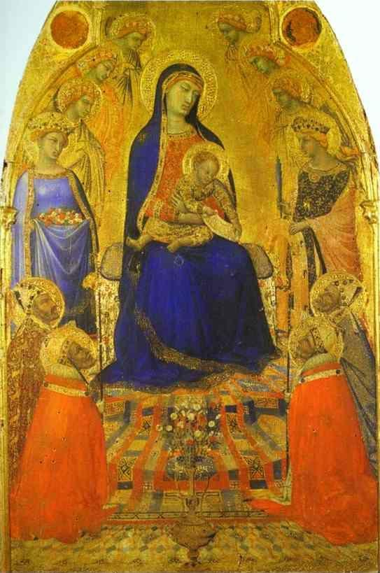 Ambrogio Lorenzetti. Madonna and Child Enthroned, with Angels and Saints.