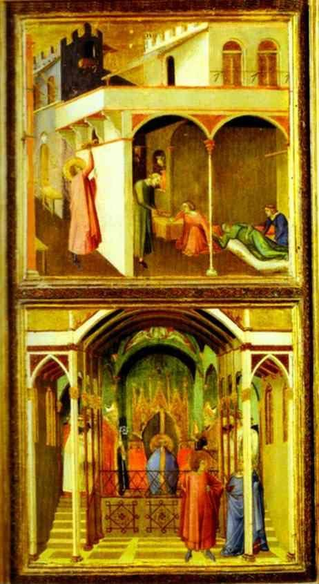 Ambrogio Lorenzetti. St. Nicholas Offers Three Girls Their Dowry and St. Nicholas is Elected Bishop of Mira.