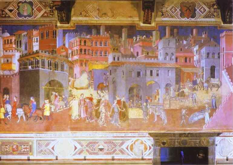 Ambrogio Lorenzetti. Allegory of Good Government: Effects of Good Government in the City.