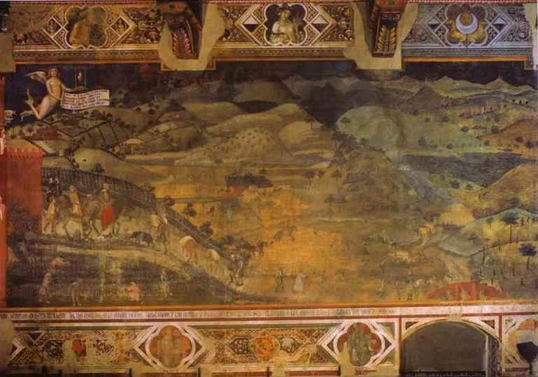 Ambrogio Lorenzetti. Allegory of Good Government: Effects of Good Government in the Country.