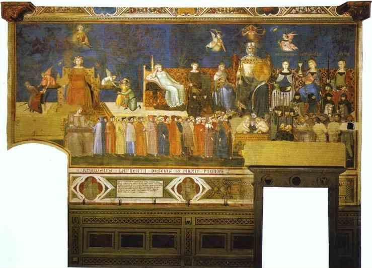 Ambrogio Lorenzetti. Allegory of Good Government. Top right: Allegorical Personifications of Faith, Charity and Hope. Left: Peace, Fortitude, Prudence. Middle: Good Government. Right: Magnanimity, Temperance, Justice.