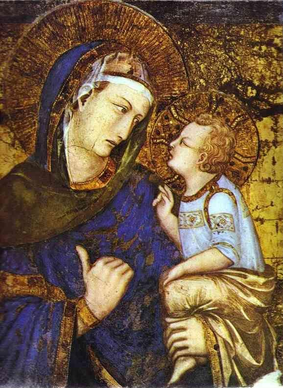 Pietro Lorenzetti. The Virgin with Child and Saints. Detail.