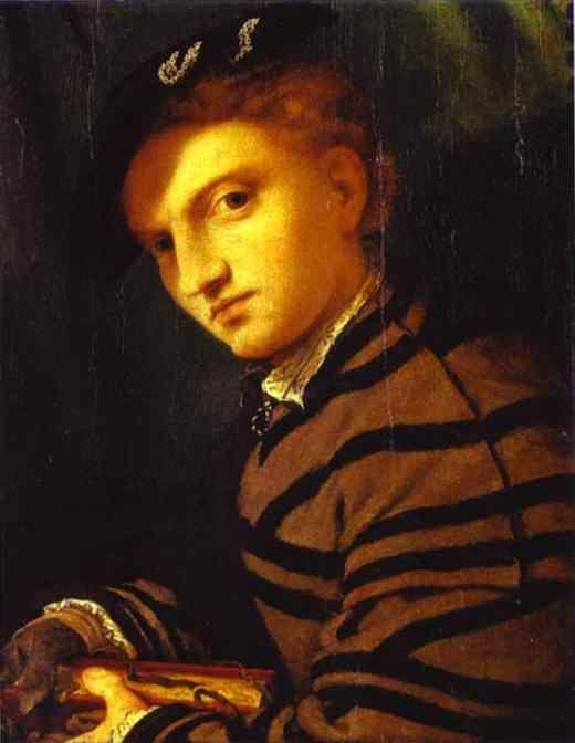 Lorenzo Lotto. Portrait of a Young Man with a Book.