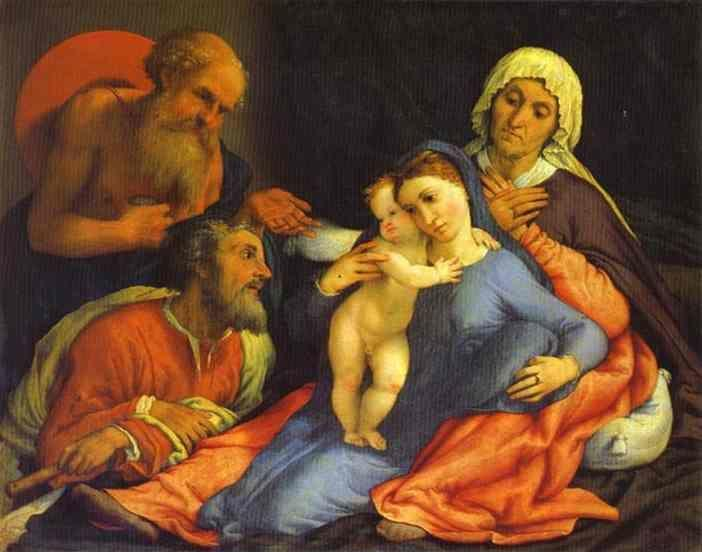 Lorenzo Lotto. Madonna and Child with St. Jerome, St. Joseph and St. Anne.