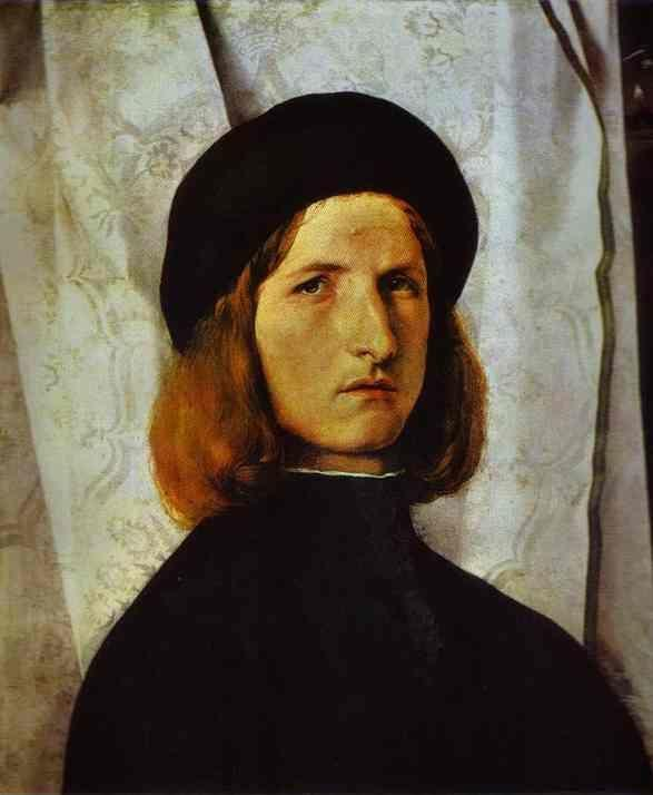 Lorenzo Lotto. Portrait of a Young Man against a White Curtain.
