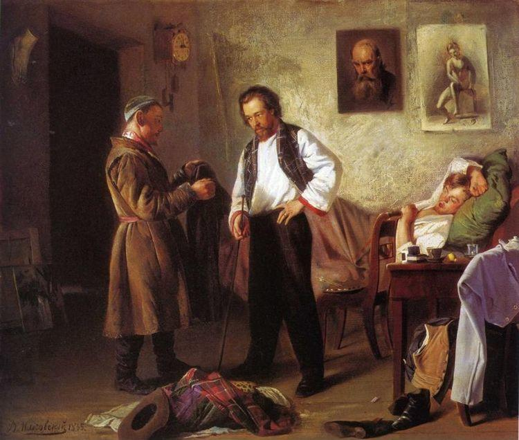 Vladimir Makovsky. Painter Selling Old Things to a Tatar.