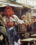 "Vladimir Makovsky. Lunch. Detail. Study for the painting ""Flea market in Moscow""."