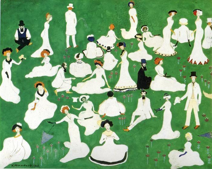 Kazimir Malevich. Rest. Society in  Top Hats.
