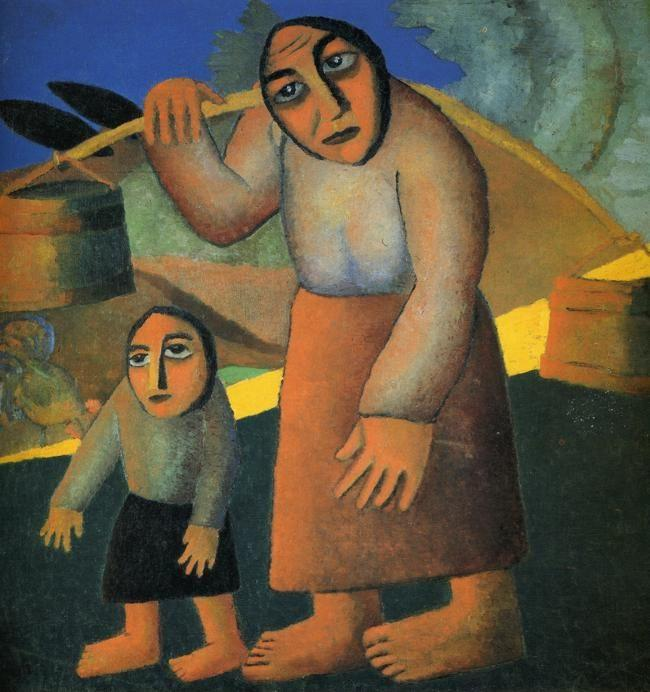 Kazimir Malevich. Peasant Woman with  Buckets and a Child.