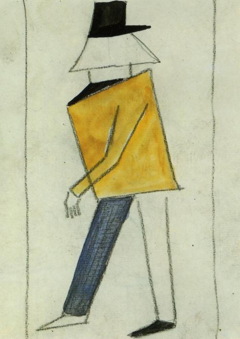Kazimir Malevich. Coward. Sketch of  a costume for the opera ""