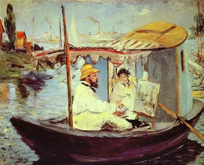 Edouard Manet. Claude  Monet Painting on His Studio Boat.