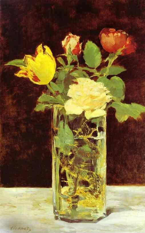 Edouard Manet. Roses and Tulips in a Vase.