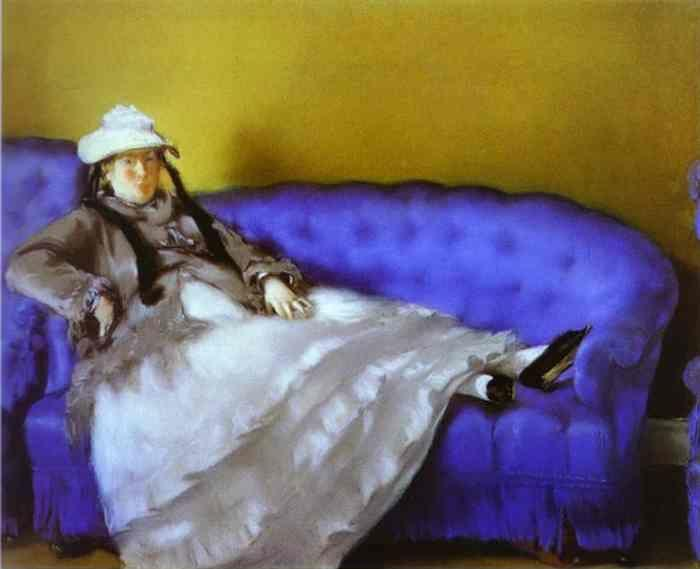 Edouard Manet. Portrait of Mme. Manet on  a Blue Sofa.