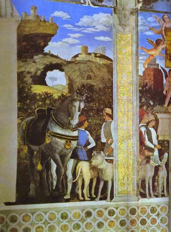Andrea Mantegna. Marquess Ludovico Greeting His Son Cardinal Francesco Gonzaga. Detail.