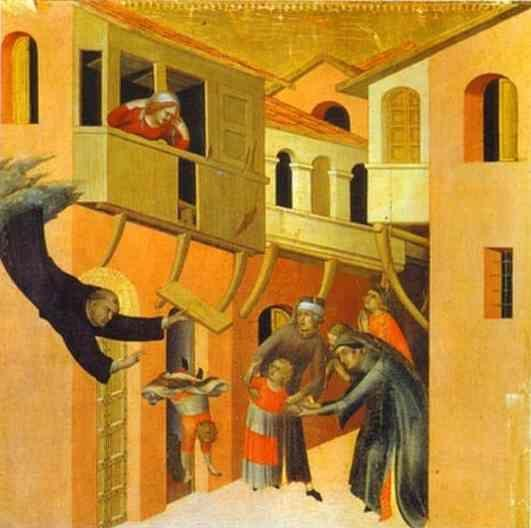 Simone Martini. The Miracle of the  Child Falling from the Balcony.