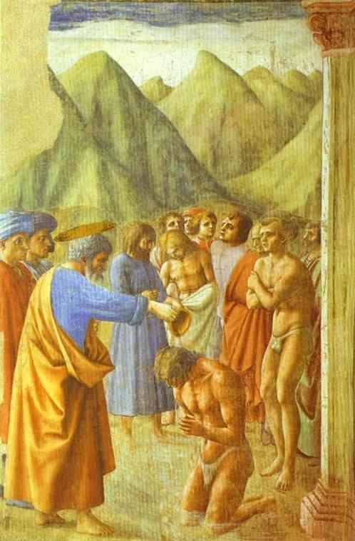 Masaccio. St. Peter Baptizing the Neophytes.
