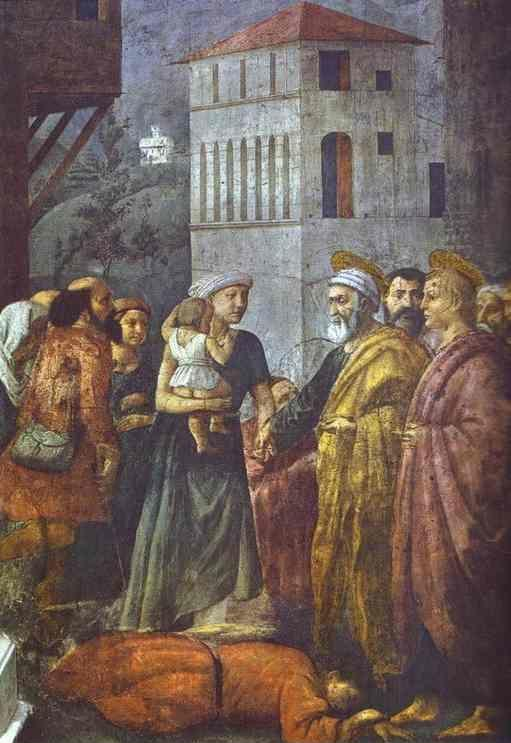 Masaccio. Distribution of the Goods of the  Community and the Death of Ananias.