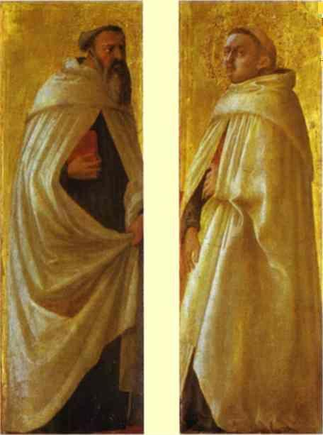 Masaccio. Two Carmelite Saints. Panels  from the Pisa Altar.