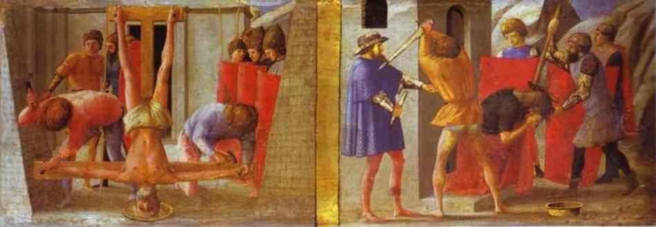 Masaccio. The Crucifixion of St. Peter. The  Beheading of St. John the Baptist. Predella  from the Pisa Altar.